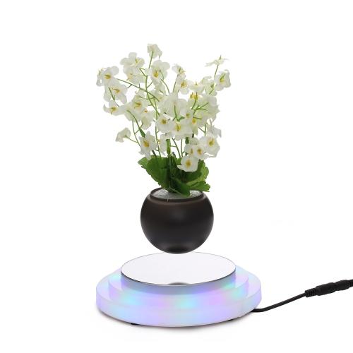Magnetic Floating Plant Pot Levitation Rotating Suspension Flower Levitating Air Bonsai Pot Flowerpot with LED Light Base EU Plug for Home Office Decoration