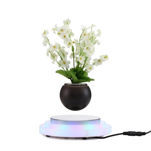 Magnetic Floating Plant Pot Lewitacja Obrotowy Zawieszenie Kwiat Lewitujący Air Doniczka Bonsai Doniczka z podstawą LED Światła UE Wtyczka do dekoracji w Home Office