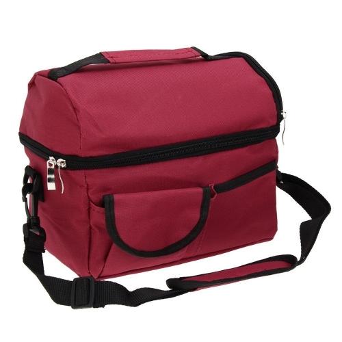 Bolso de almuerzo cuadrado aislado de la gran capacidad Bolso de refrigerador llevar bolsas Bolso de viaje de Bento con correa ajustable para el hombro (rojo vino)