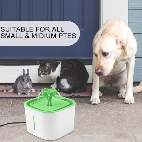 Pet Water Fountain Round Nozzle UV Sterilize Power-off Protection Drink Dispenser with Clear Water Level Window