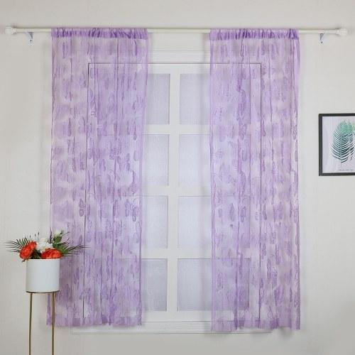 2 piezas 100 * 200 cm novedad mariposa patrón decoración ventana habitación línea cortina romántica cadena borla puerta cortina divisor habitación decoración de la pared