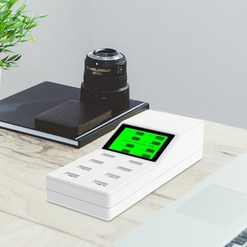 Chargeurs intelligents USB 8 ports LCD intelligent Écran numérique Affichage Protection de la sécurité Station de charge Adaptateur pour 110V-240V Port USB Périphériques électroniques