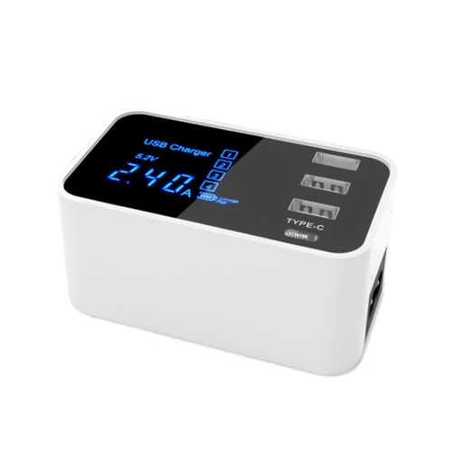 Caricatore USB multiplo 20W con 3 porte USB e 1 display LCD con porta di tipo C.