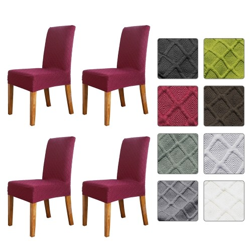 Stretch Solid Diamond Lattice Dining Chair Cover Funda antideslizante extraíble Lavable corto Comedor Silla Protector Asiento Sólido Slipcovers para Hotel Dining 4pcs Wine Red