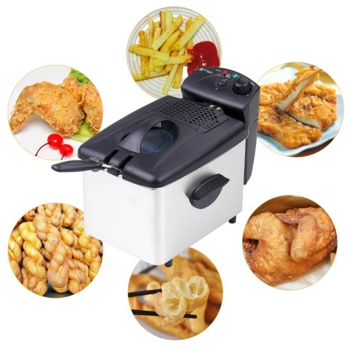 Electric Immersion Deep Fryer Frying Basket Detachable Lid with View Window Single Oil Tank Brushed Stainless Steel Hot Oil Cooker