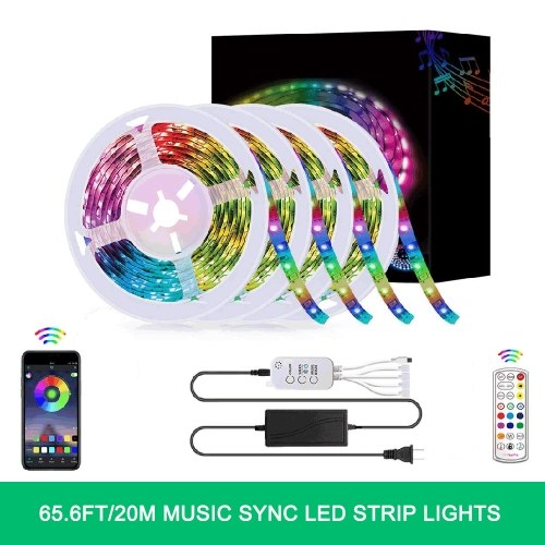 65.6FT/20M LED RGB Light Strip 5050 SMD Color Changing BT Controller with 24 Key Remote