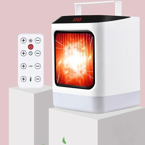 Calentador de espacio eléctrico Ventilador con temporizador Calentador de pantalla LCD de luz colorida con control remoto