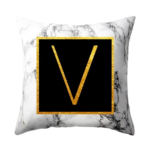 Marbled Golden Letters Pillowcase Sofa Pillow Cushion Cover  45 * 45cm