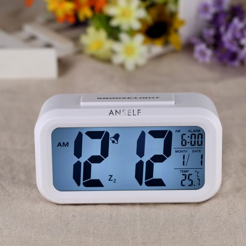 Anself LED Digital Alarm Clock Repeating Snooze Light-activated Sensor Backlight Time Date Temperature Display White