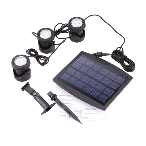 Solar Powered Super Bright 3 Submersible Lamps 18 LEDs  Projector Light Garden Pool Pond Yard Landscape Underwater Spotlight Outdoor Lighting Use Warm White