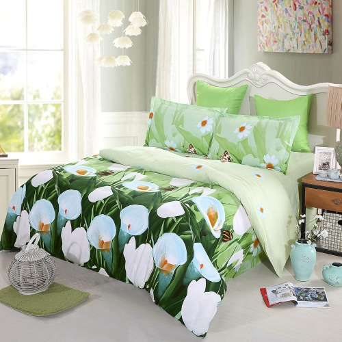 4pcs 3D Printed Bedding Set Bedclothes White Tulip on Green Background Twin Size Duvet Cover+Bed Sheet+2 Pillowcases