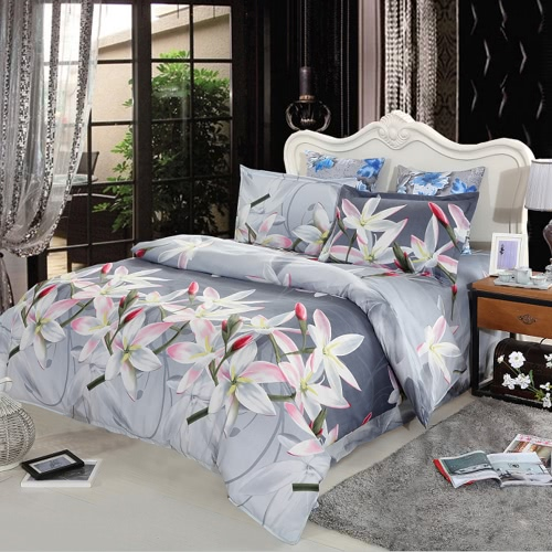 4pcs 3D Printed Bedding Set Bedclothes White Lily on Light Black Background Queen Size Duvet Cover+Bed Sheet+2 Pillowcases