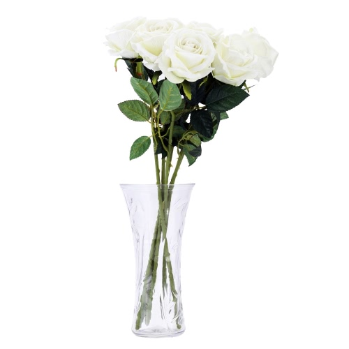 6PCS Artificial Rose Flower Lint Real-Like Simulation Rose Bouquet with Single Stem for Wedding Bridal Party Home Decoration