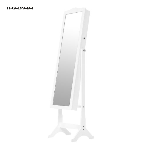 Fashion Lockable Standing Jewelry Cabinet Armoire Tilt Adjustable Jewelry Storage Box Organizer with Dressing Mirror