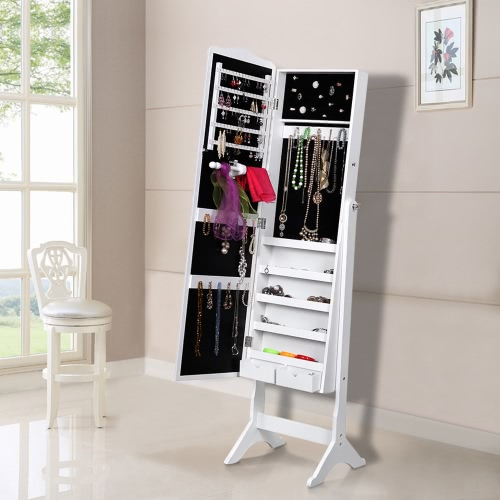 iKayaa Tilt Adjustable Jewelry Storage Organizer With Mirror