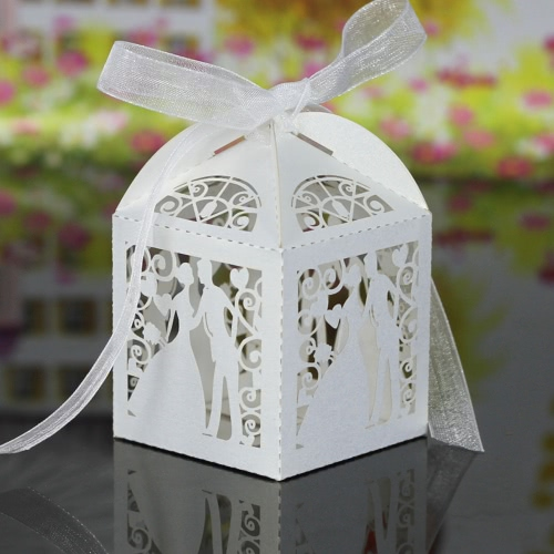 20PCS Handmade Laser Cut Bridegroom Candy Boxes with Ribbons Wedding Favor Gift Candies Sweet Boxes Wedding Accessory