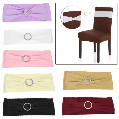 50PCS Hochzeit Dekorationen elastischer Spandex-Stuhl-Abdeckung Schärpen Bögen Elastic Stuhlbänder mit Schnalle Slider Schärpen Bögen 7 Farben
