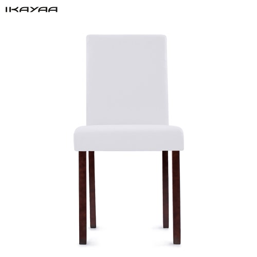 iKayaa 2PCS / Juego de 2 Moderno de cuero de imitación de comedor Sillas de madera del marco acolchado cocina lateral Parson sillas de desayuno heces