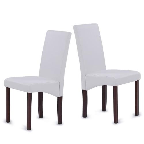 iKayaa 2PCS / Set de 2 Modern Faux sillas de cuero de alta restauración del marco de madera acolchada Volver cocina lateral Parson sillas de desayuno heces