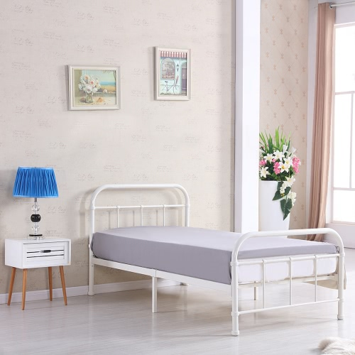 IKAYAA Высококачественная Металлическая платформа Каркас кровати W / Wood Планки для сдвоенных Sized матрас (99 * 190см) Фонд Box Spring Замена Мебель для спальни для 99 * 190см Матрас