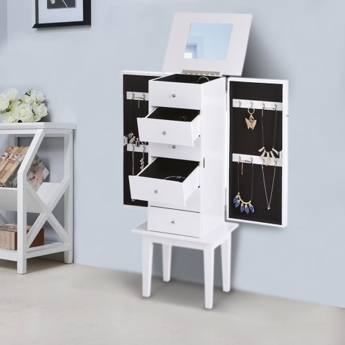 IKAYAA Antique Standing Jewelry Armoire Cabinet Flip-top Mirrored Jewelry Storage Box Organizer Chest Bedroom Furniture