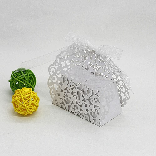 20PCS Laser Cut Romantic Vine Style DIY Gift Candy Boxes Wedding Birthday Party Favor with Ribbons Bridal Baby Shower Banquet Boxes
