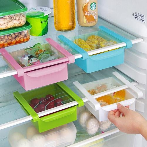 De usos múltiples correderas para ahorrar espacio Nevera Congelador Despensa organizador del almacenaje de los compartimientos de contenedores Portaherramientas Cocina Nevera Caja de almacenamiento