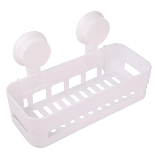 High-quality Multi-use Plastic Bathroom Kitchen Shelf Storage Rack Wall Mount Bathroom Organizer Holder Basket W/2 Suckers