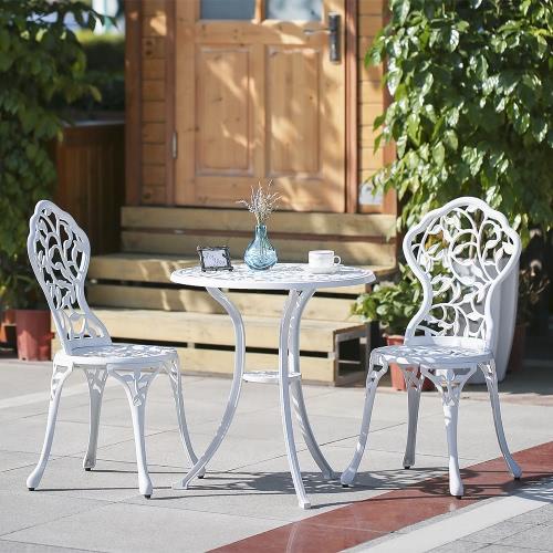 iKayaa 3PCS Modern Outdoor Patio Bistro Set Aluminum Porch Balcony Garden Table & Chairs Set