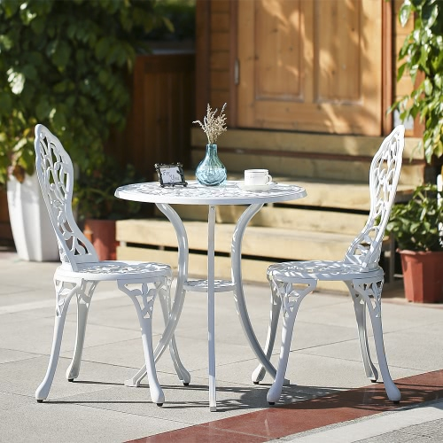 iKayaa 3PCS Modern Outdoor Patio Bistro Set Aluminum Porch Balcony Garden Table & Chairs Set Furniture Leaves Design White