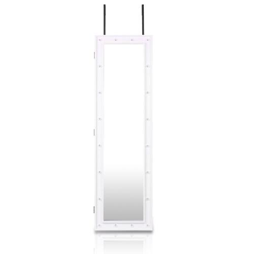 iKayaa Fashion LED Lights Hanging Jewelry Armoire Door/Wall Mount Jewelry Cabinet Mirrored Jewelry Storage Box Organizer