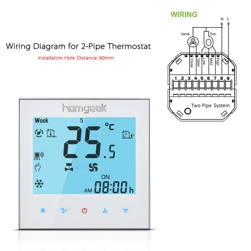Homgeek homgeek 110240v air conditioner 2 pipe thermostat with lcd display good quality touch screen programmable room temperature controller home improvement cheapraybanclubmaster Image collections