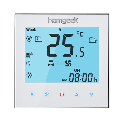 Homgeek 110~240V Air Conditioner 2-pipe Thermostat with LCD Display Good Quality Touch Screen Programmable Room Temperature Controller Home Improvement Product