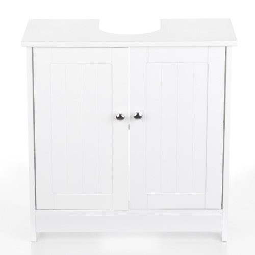 iKayaa Modern Under Sink Storage Cabinet with Doors Bathroom Vanity Furniture 2 Layer Organizer White/Blue