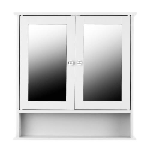 iKayaa Современный 2-дверный стеновой шкаф со стеклянными дверями и полками Кухня Ванная комната Настенный шкаф Мебель Белый / Синий
