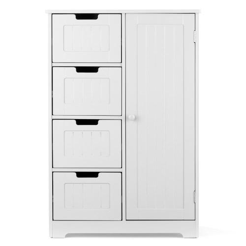 iKayaa Modern Shelved Floor Cabinet with Door & Drawers Bedroom Storage Organizer Furniture White/Blue