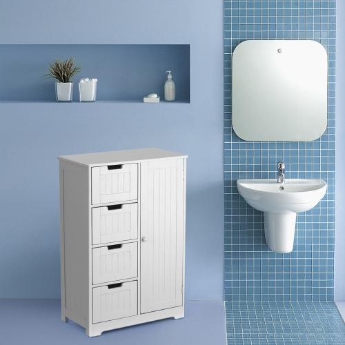 iKayaa Modern Bedroom Shelved Floor Cabinet with Door & Drawers
