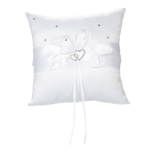 7 * 7 inches Double Heart Satin Wedding Ring Bearer Pillow with Rhinestone Diamond Decoration Wedding Supplies