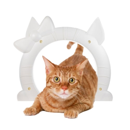 Lovely Pet Cat Door Gate with Hollow Core ABS material for Cats In and Out Freely Easy Installation
