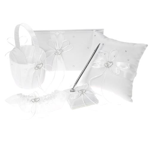 5pcs/set Wedding Supplies Double Heart Satin Flower Girl Basket + 7 * 7 inches Ring Bearer Pillow + Guest Book + Pen Holder + Bride Garter Set White