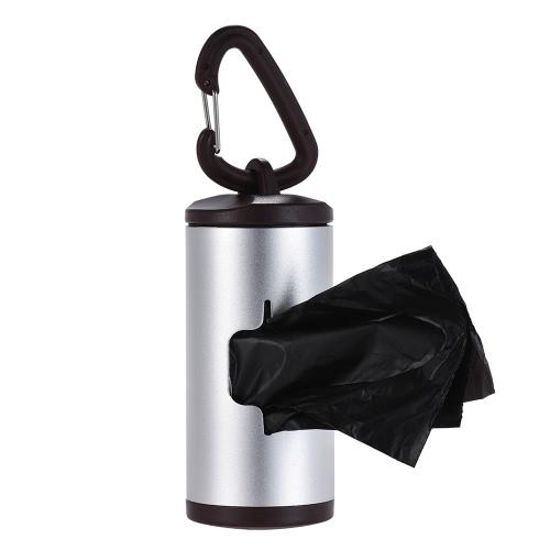 Colorful Pet Poop Holder Dog Waste Dispenser Aluminum Tube Includes 15pcs Waste Bags Refillable