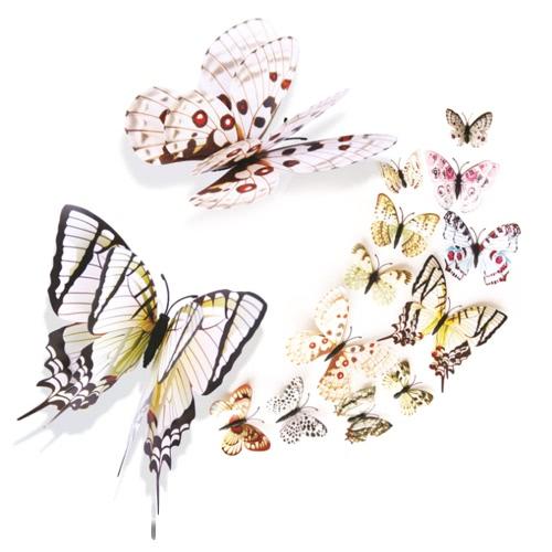 3D Lifelike и двойной слой ПВХ-бабочка для украшения стен