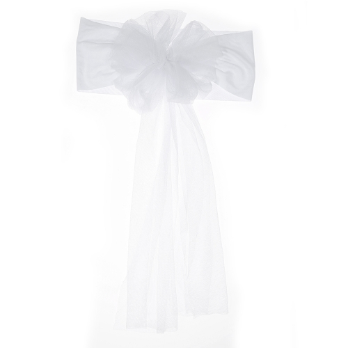 10pcs Wedding Flower Chair Sashes Elastic Spandex Organza Chair Sash Covers Wedding Banquet Supplies Decorations--White