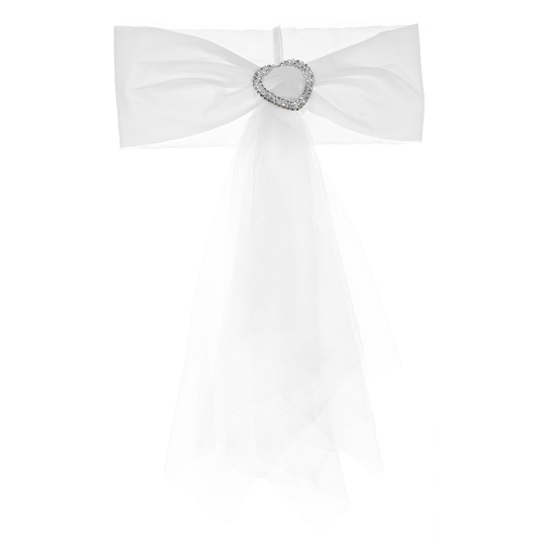 20шт Свадебное кресло для кресла с сердечником Эластичный спандекс Органза стул Sash Covers Свадебные банкетные принадлежности Украшения - белый
