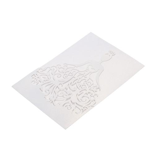 20pcs / set Свадебные пригласительные карточки Жемчужная бумага Лазерная вырезать полые шаблоны приглашения невесты для участия в юбилейной свадьбе - белый