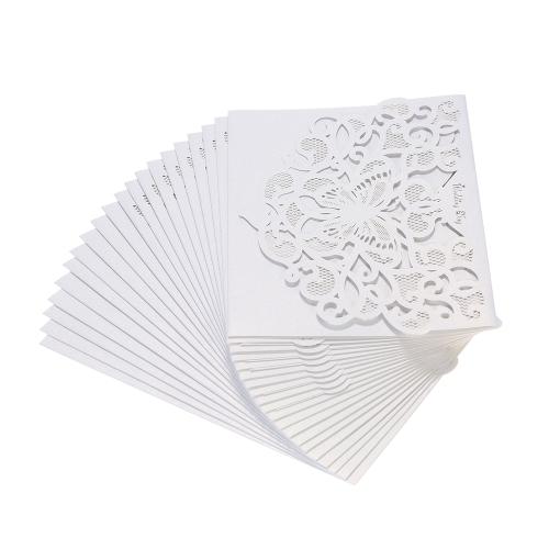 20pcs / set Свадебные пригласительные карточки Перламутровая бумага для лазерной резки полые шаблоны для бабочек Pattern Invitation Cards - Pink