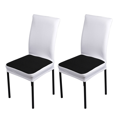 2pcs/set Breathable Spandex Stretchable Dining Chair Seat Covers Dustproof Ceremony Chair Slipcovers Protectors Wedding Events Decoration--White