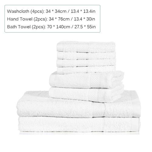 Htovila 8-Piece Cotton Towel Set 4 Washcloths + 2 Bath Towels +  2 Hand Towels Soft Breathable Absorbent Face Body Bath Towel Set for Bathroom Home Hotel--White
