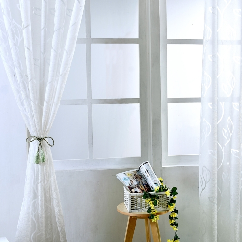 39 * 98 inches Polyester Semi-Blackout Grommet Top Window Curtain Panel Living Room Bedroom Hotel Voile Curtain Drape--White
