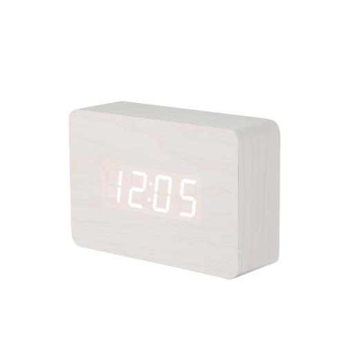Настольный стол Классический Деревянный Электронный цифровой светодиодный будильник Настройка сигнала Время отображения Календарь Дата Температура Контроль звука для домашнего офиса Декор Синий
